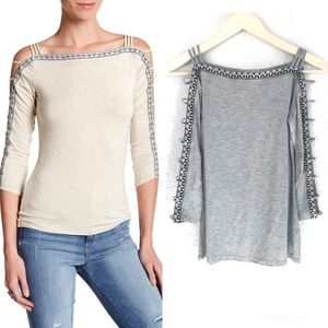 JESSICA SIMPSON Cutout 3/4 Sleeve Top Embroidered